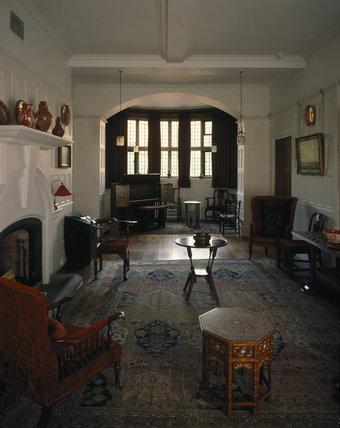 The Hall looking towards the bay window at Standen, Sussex