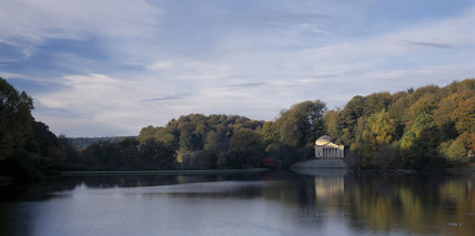 Viewed from the lake in early morning, the Pantheon is the largest and most important garden building at Stourhead