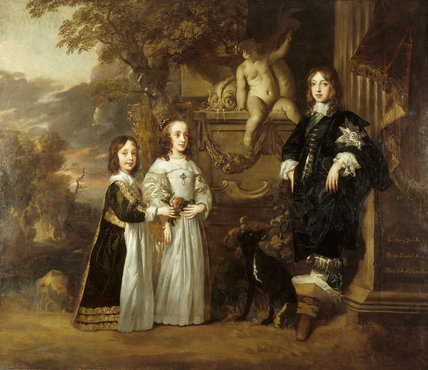 THE YOUNGEST CHILDREN OF CHARLES I,1647, by Sir Peter Lely, (1618-80), close view of James, Henry and Elizabeth against a stormy background, at Petworth