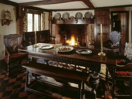 View of the fireplace and 400 year old dining table in the for Kitchen dining hall design