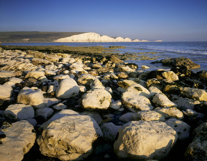 A distant early morning view of Seven Sisters from Seaford Head with large white limestone rocks on the shoreline in the foreground, and the white chalk cliffs beyond