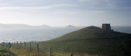 Doyden Castle, now a National Trust holiday cottage, built c.1830 by Samuel Symons, at Doyden Point, Port Quin. There are spectacular views towards The Rumps over Lundy Bay.