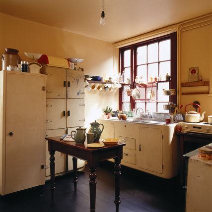 The Kitchen at 59 Rodney Street, Liverpool, the E. Chambre Hardman Studio, House and Photographic Collection - looking towards the sink underneath the window.