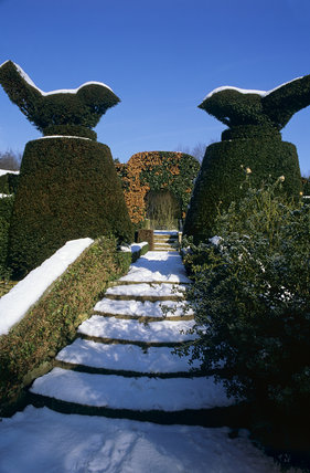 The garden at Hidcote during January, covered with snow