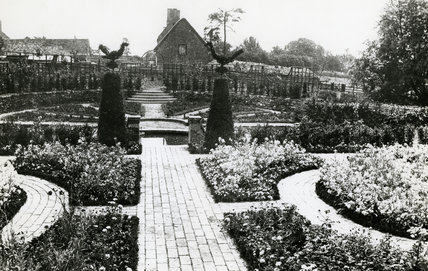 Hidcote Manor Garden in 1910, view along brick path to central topiary