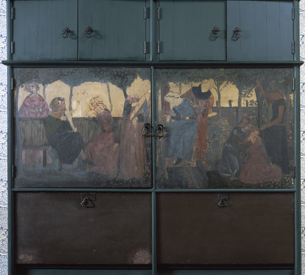 Red House: Close detail of the painting on the doors of the green settle-cum-cupboard  in the Entrance Hall