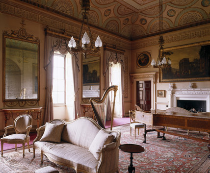 View of the Saloon at Nostell Priory showing the Adam ceiling painted in 1773, two pier glasses and Harpsichord by Jacob Kirckman of 1766 in a fine case inlaid with Rococo ornament