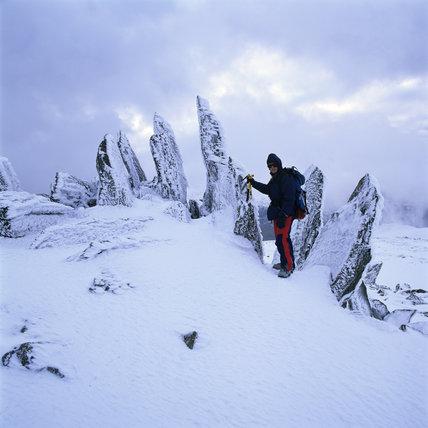 View of rock ridges below the summit of Glyder Fawr, Snowdon