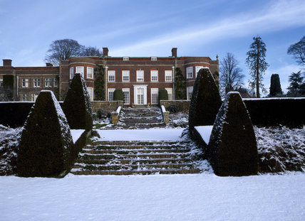 The south front of Hinton Ampner House seen in the snow, viewed from the ha-ha wall