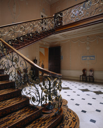 The magnificent staircase with its very elaborate metal balustrade and highly decorated treads and risers