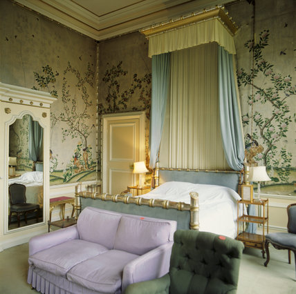 View towards the bed in the Bamboo Room in the private flat at Belton House
