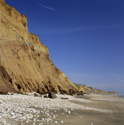 The spectacular cliffs of Compton Bay, Isle of Wight The quickly eroding cliffs back onto the pebbley, then sandy shore