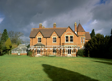 A view of the south front of Sunnycroft on a grey overcast day
