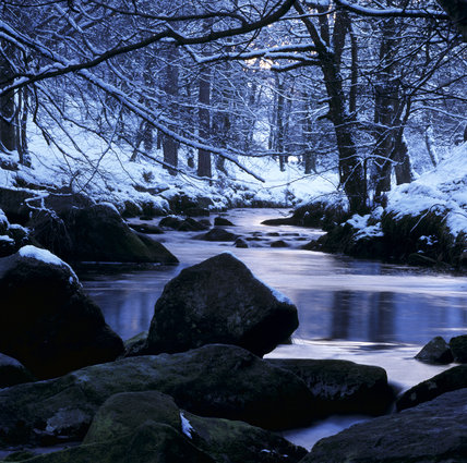 A view of Hebdenwater at Hardcastle Crags in winter