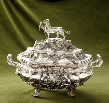 A close-up detail of Round Tureen, c. 1752