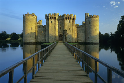 View across the moat along the bridge to the Gatehouse on the North Front of Bodiam Castle, Sussex