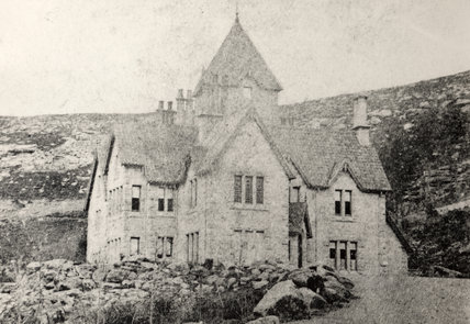 A historical B/W print of The Lodge 'Cragside', dated 1864-6, before Norman Shaw's editions