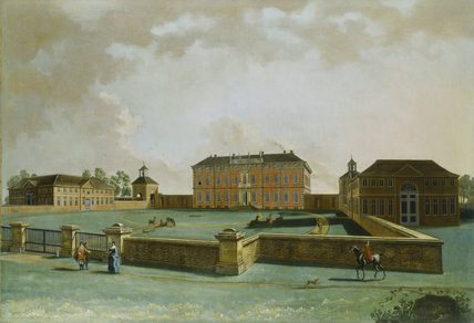 Painting of THE ENTRANCE FRONT OF BENINGBROUGH HALL by J.Bouttats & J.Chapman, 1751. Acquired with support of NACF.