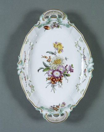 Close-up of one of the pieces of Meissen porcelain in The Boudoir in Melford Hall