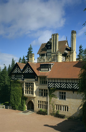Close, slightly angled view of the entrance front at Cragside