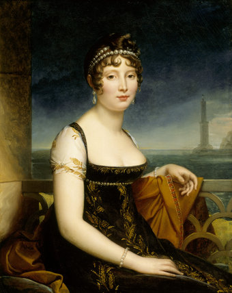 PORTRAIT OF CAROLINE MURAT, sister of Napoleon and briefly Queen of Naples (1782-1832) by Louis Ducis in the Drawing Room at Attingham Park