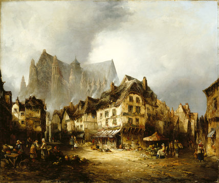 `BEAUVAIS CATHEDRAL AND MARKET' by ALFRED MONTAGUE