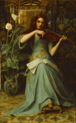 GIRL WITH A VIOLIN by Henry Harewood Robinson (op.1884-1896)