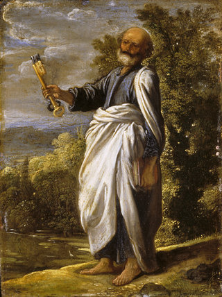 ST PETER by Adam Elsheimer (c1578-1610) from Petworth House One of a set of paintings of the Apostles