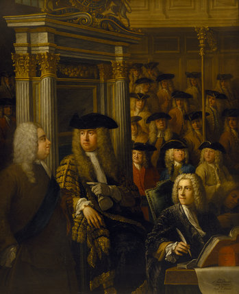 WALPOLE TALKING TO THE SPEAKER, ARTHUR ONSLOW IN THE HOUSE OF COMMONS 1730, by Sir James Thornhill (1675-1734)
