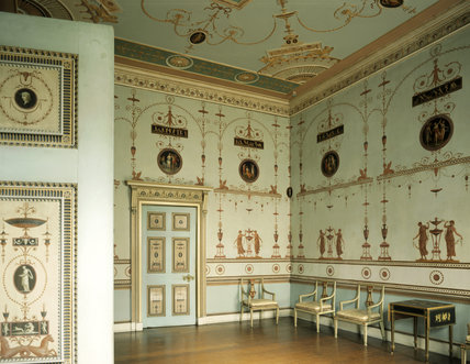 The Etruscan Dressing Room at Osterley, papered and painted by Adam's decorative artist Pietro Mario Borgnis (1743-1801)