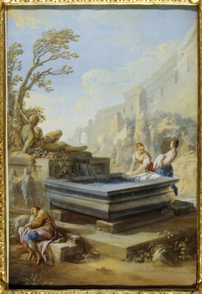 WASHERWOMEN AT A CLASSICAL FOUNTAIN by Pietro Bianchi (1694- 1740) in The Cabinet at Felbrigg Hall