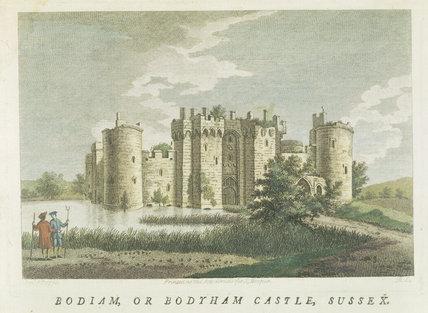 Aquatint of Bodiam Castle by S. Hooper c.1778