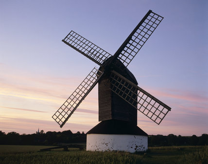 Pitstone Windmill, one of the oldest post mills in England, with a lovely pale sunset behind