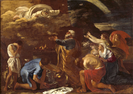 A painting of THE SACRIFICE OF NOAH by Nicolas Poussin (1594- 1665) in the Drawing Room