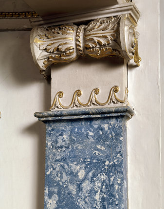 A detail of a Lapis Lazuli scagliola pilaster in the Boudoir at Berrington Hall