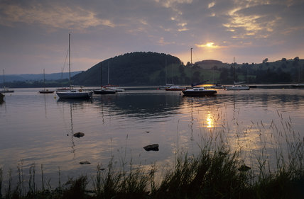 A sunset over the boats on Ullswater, near Pooley Bridge