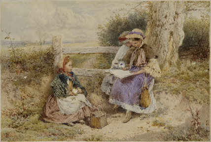 THE PRIMROSE GATHERERS by Miles Birkett Foster (1825-1899) from Nunnington Hall