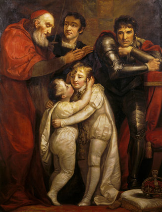 RICHARD, DUKE OF YORK OBSERVING THE MEETING OF EDWARD V AND HIS BROTHER by James Northcote (1746-1831)