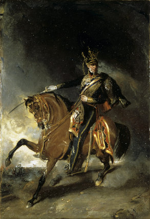 HENRY WILLIAM PAGET 1ST MARQUESS OF ANGLESEY by R I Bott (1839) a portrait in oils depicting him as a soldier in full uniform on horseback, brandishing a sword
