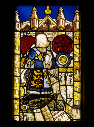 Stained glass panel representing Edmund Tudor, Earl of Richmond, father of Henry VII