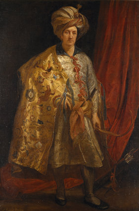 SIR ROBERT SHIRLEY (1581-1628) by Sir Anthony van Dyck (1599-1641) The diplomatic agent to the Shah of Persia, painted in Rome in 1622 in the Red Room at Petworth (Dec 1992)