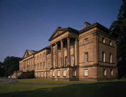 An oblique view of the east front with the north wing in the foreground