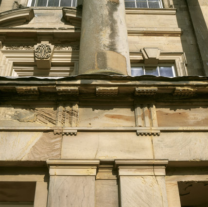 Detail of the South Front of Calke Abbey, showing wear and tear in the stonework