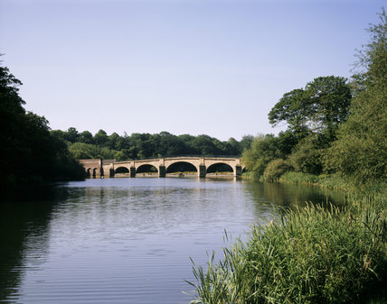 The bridge over the lake dating from 1761, to a design by Sir George Savile, a neighbouring squire and amateur architect and built by Mr