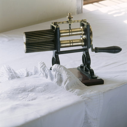 A goffering machine in the laundry