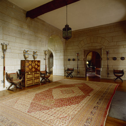 The Entrance Hall towards the door to the Library at Castle Drogo