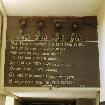The Erddig Prayer found in the corridor, below some of the servants bells