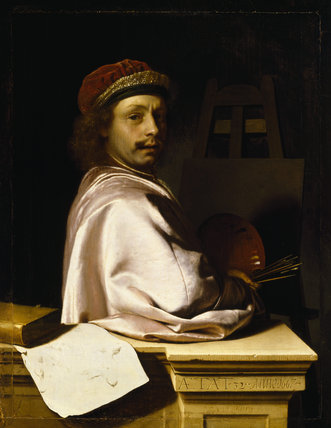 THE ARTIST AS VIRTUOSO AT HIS EASEL, by Frans van Mieris (1635-1681) from Polesden Lacey