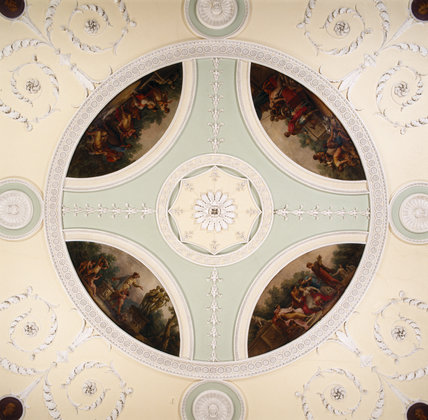 The Dining Room ceiling was designed by Adam and the plasterwork carried out by Joseph Rose