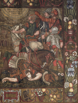 Close-up of one of the four wall hangings in the Chapel, painted with scenes from the Acts of the Apostles & is annotated